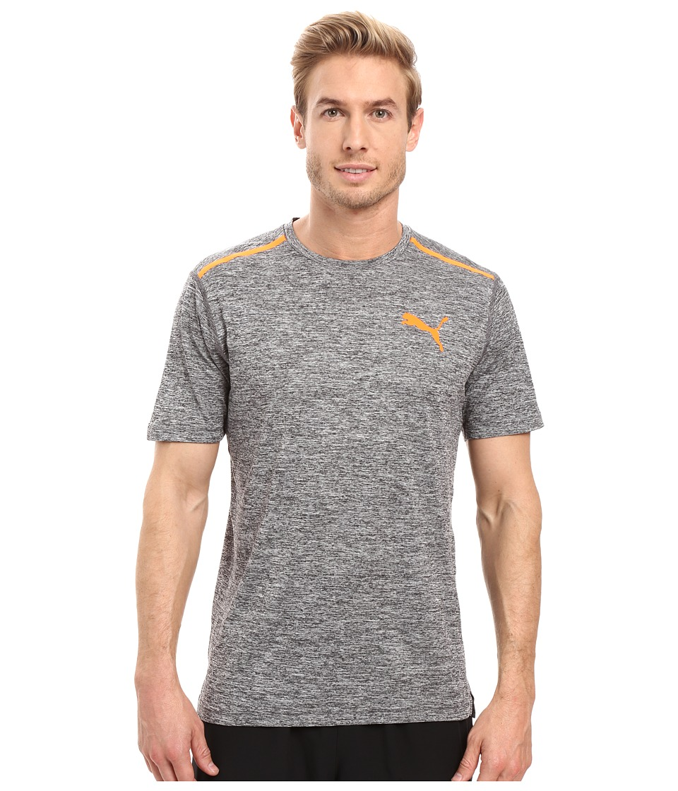 PUMA Bonded Tech Short Sleeve Tee (Dark Gray Heather/Shocking Orange) Men