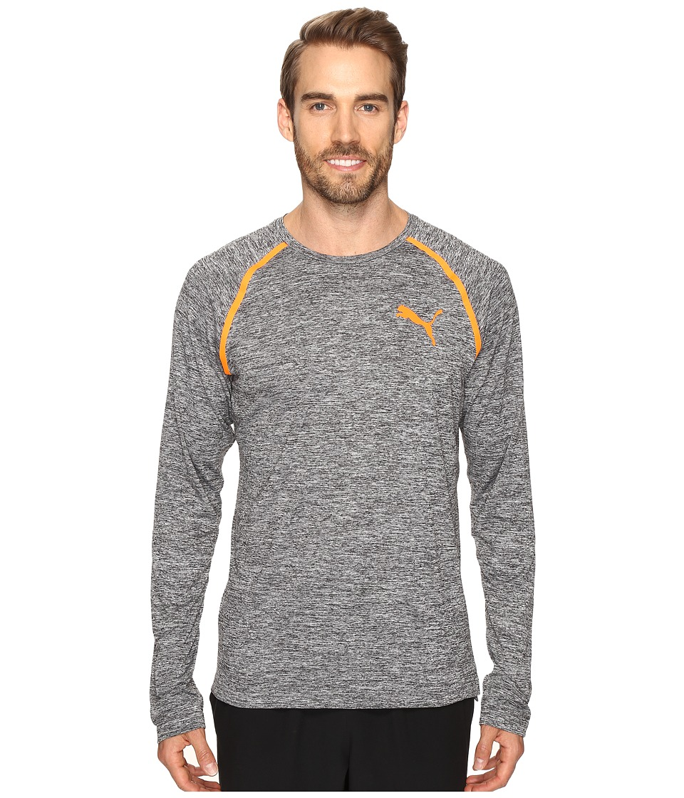 PUMA - Bonded Tech Long Sleeve Tee (Dark Gray Heather/Shocking Orange) Men's Long Sleeve Pullover