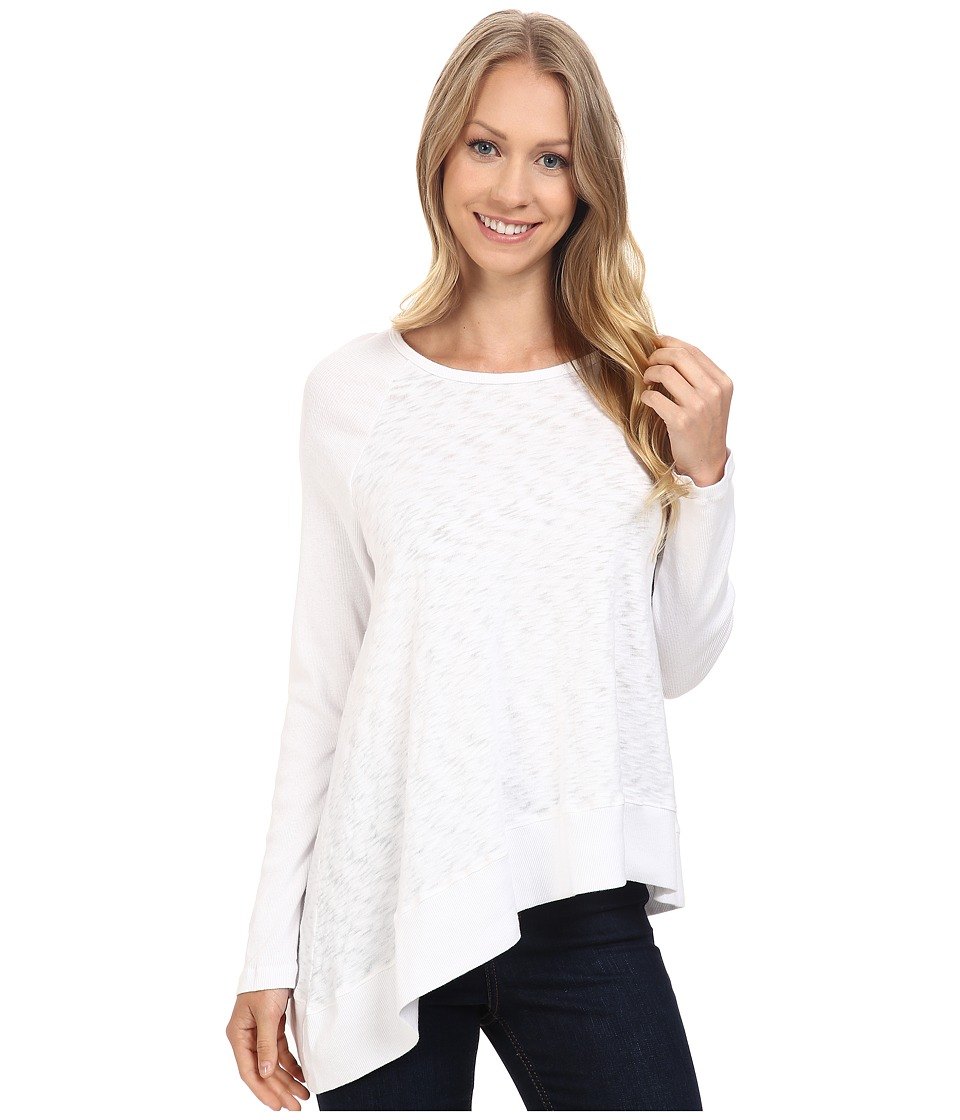 Allen Allen - Long Sleeve Raglan Crew Angled Hem (White) Women's Clothing