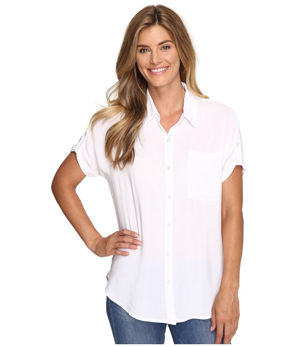 Allen Allen - Tab Sleeve Button Front Shirt (White) Women's Short Sleeve Button Up