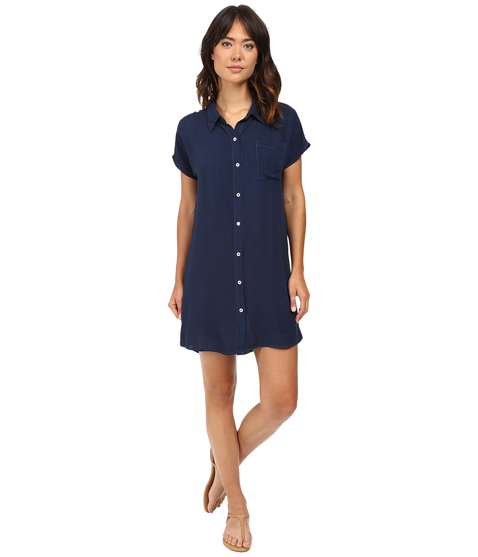 Allen Allen - High-Low Shirtdress (Blue Ink) Women's Dress