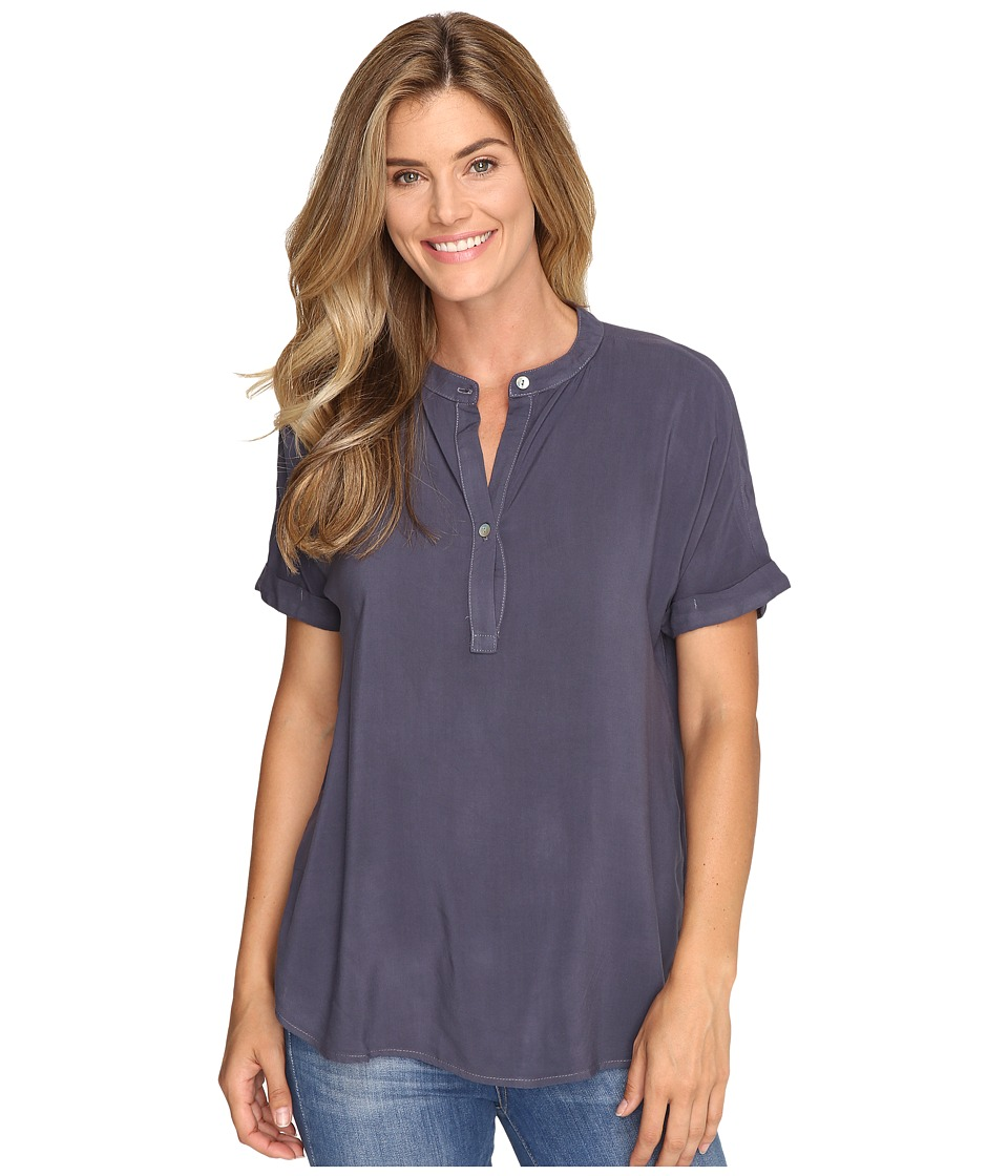 Allen Allen - Tab Collar Henley Shirt (Flint) Women's Clothing