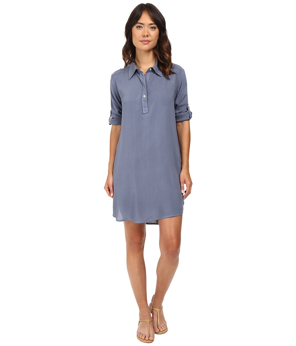 Allen Allen - High-Low Shirtdress (Blue Haze) Women's Dress