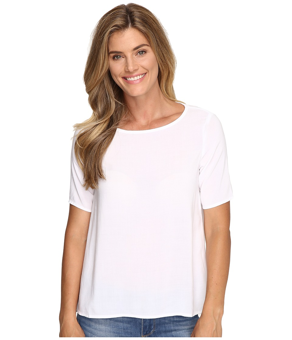 Allen Allen - 1/2 Sleeve High-Low Crew (White) Women's Short Sleeve Pullover