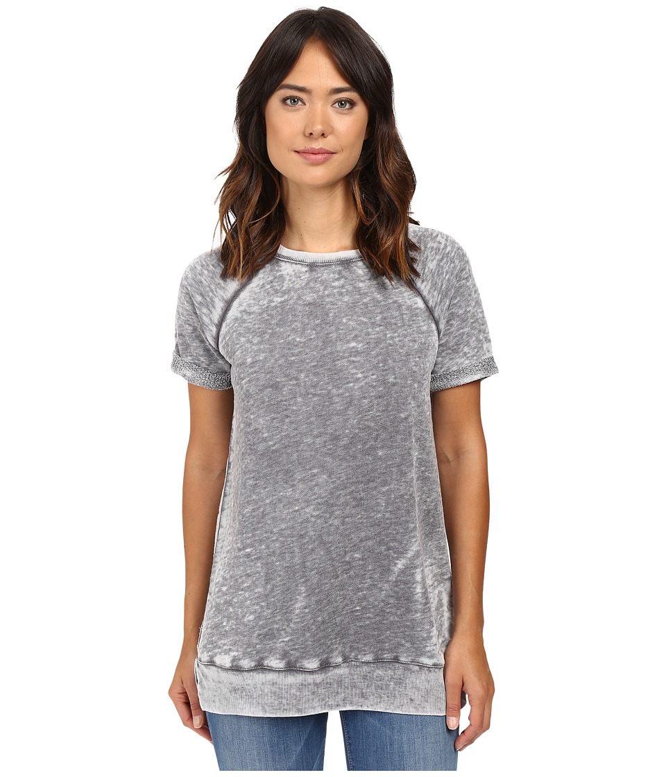 Allen Allen - Short Sleeve Raglan Roll Crew (Dark Grey) Women's Short Sleeve Pullover