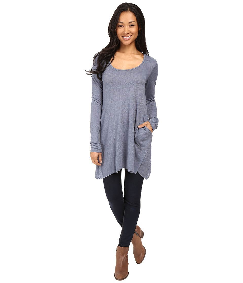 Allen Allen - L/S Angled 2-Pocket Scoop Tunic (Blue Haze) Women's Long Sleeve Pullover