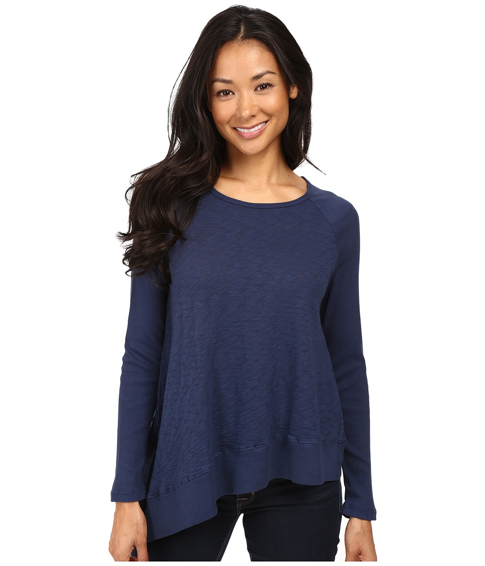 Allen Allen - Long Sleeve Raglan Crew Angled Hem (Blue Ink) Women's Clothing