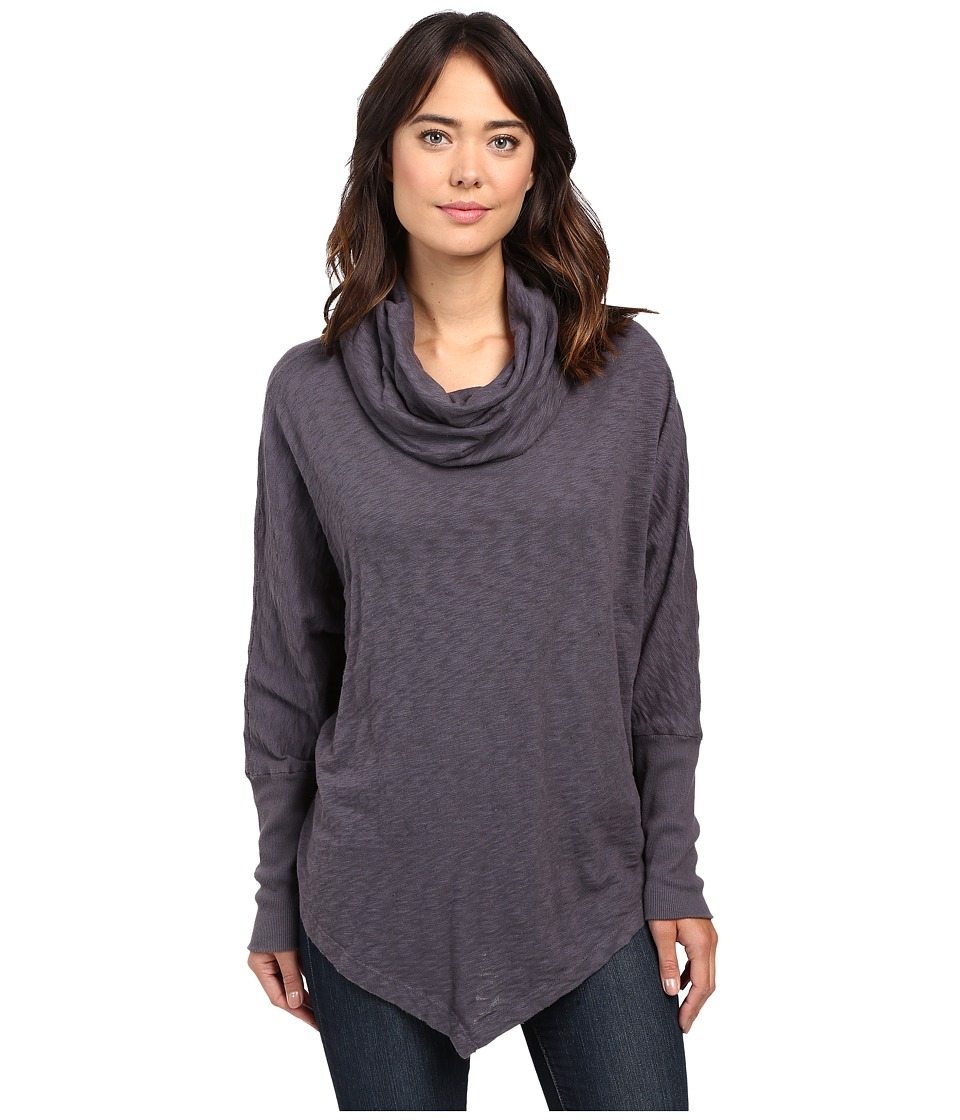 Allen Allen - Long Sleeve Angled Hem Cowl (Flint) Women's Clothing