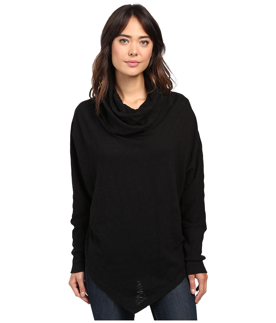 Allen Allen - Long Sleeve Angled Hem Cowl (Black) Women's Clothing