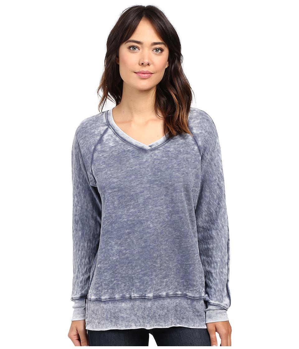 Allen Allen - Long Sleeve Raglan Vee Tunic (Blue Ink) Women's Sweater