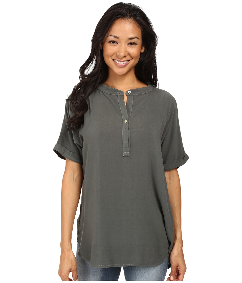 Allen Allen - Tab Collar Henley Shirt (Cilantro) Women's Clothing