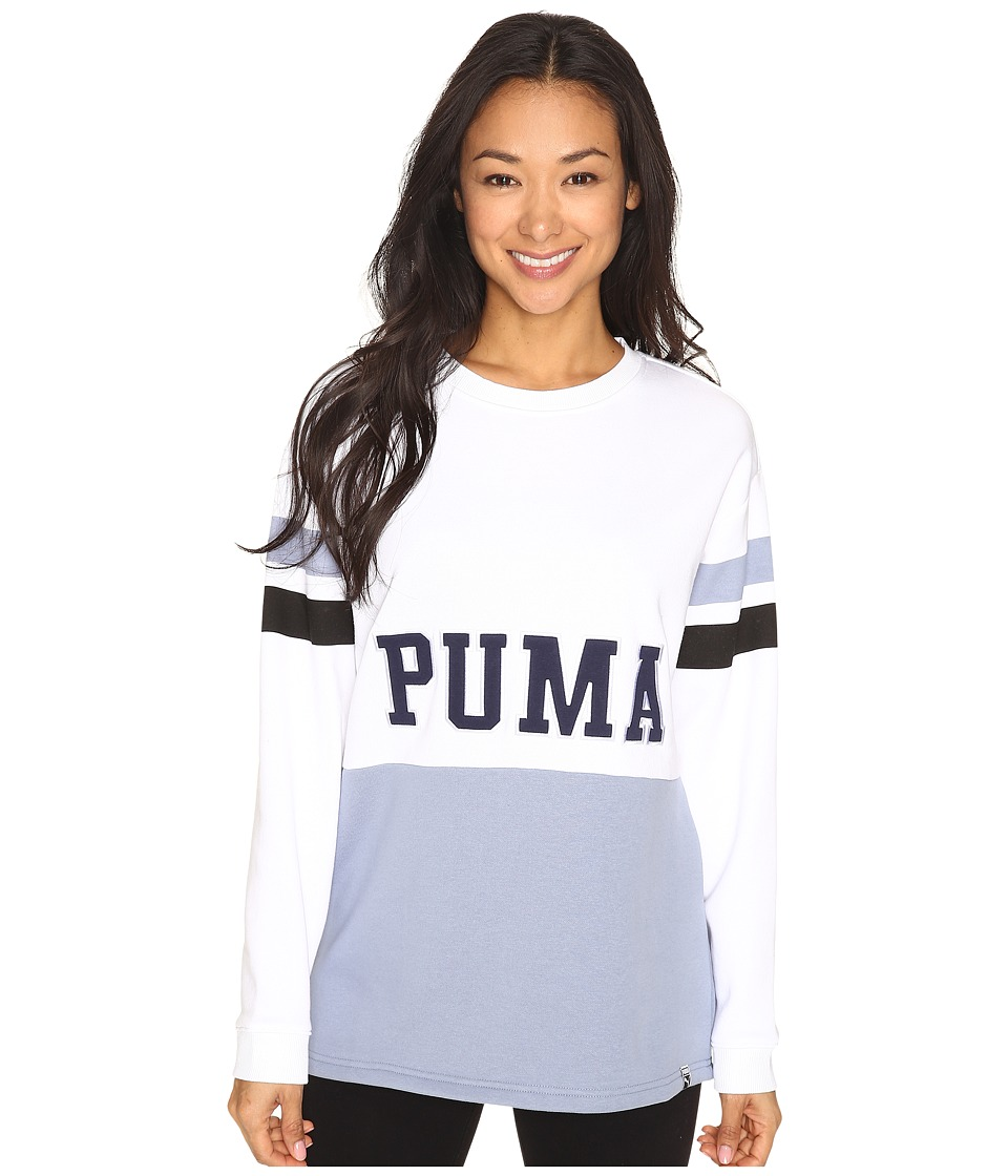 PUMA - Colour Blocking Crew Sweat (White/Tempest) Women's Clothing