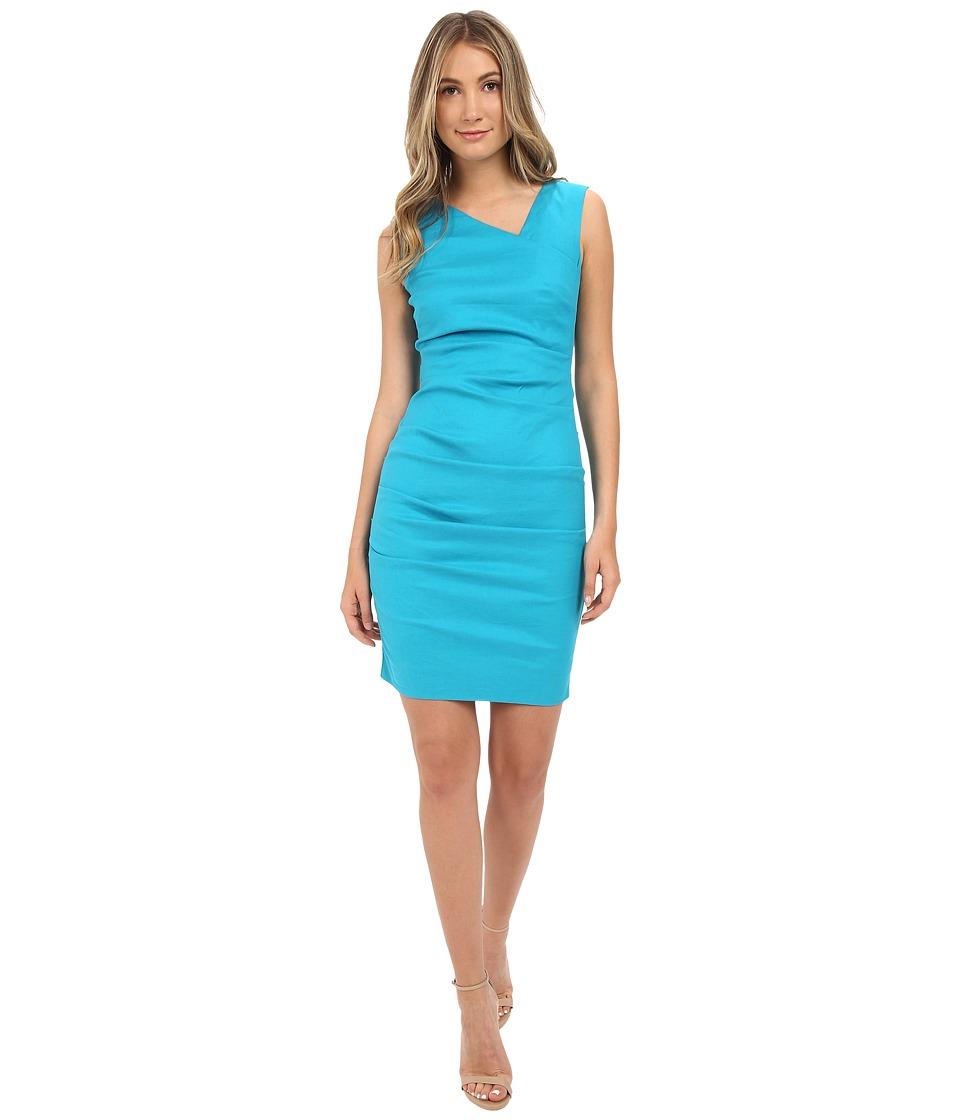Nicole Miller - Asymmetric Laila Linen Sheath (Aqua) Women's Dress