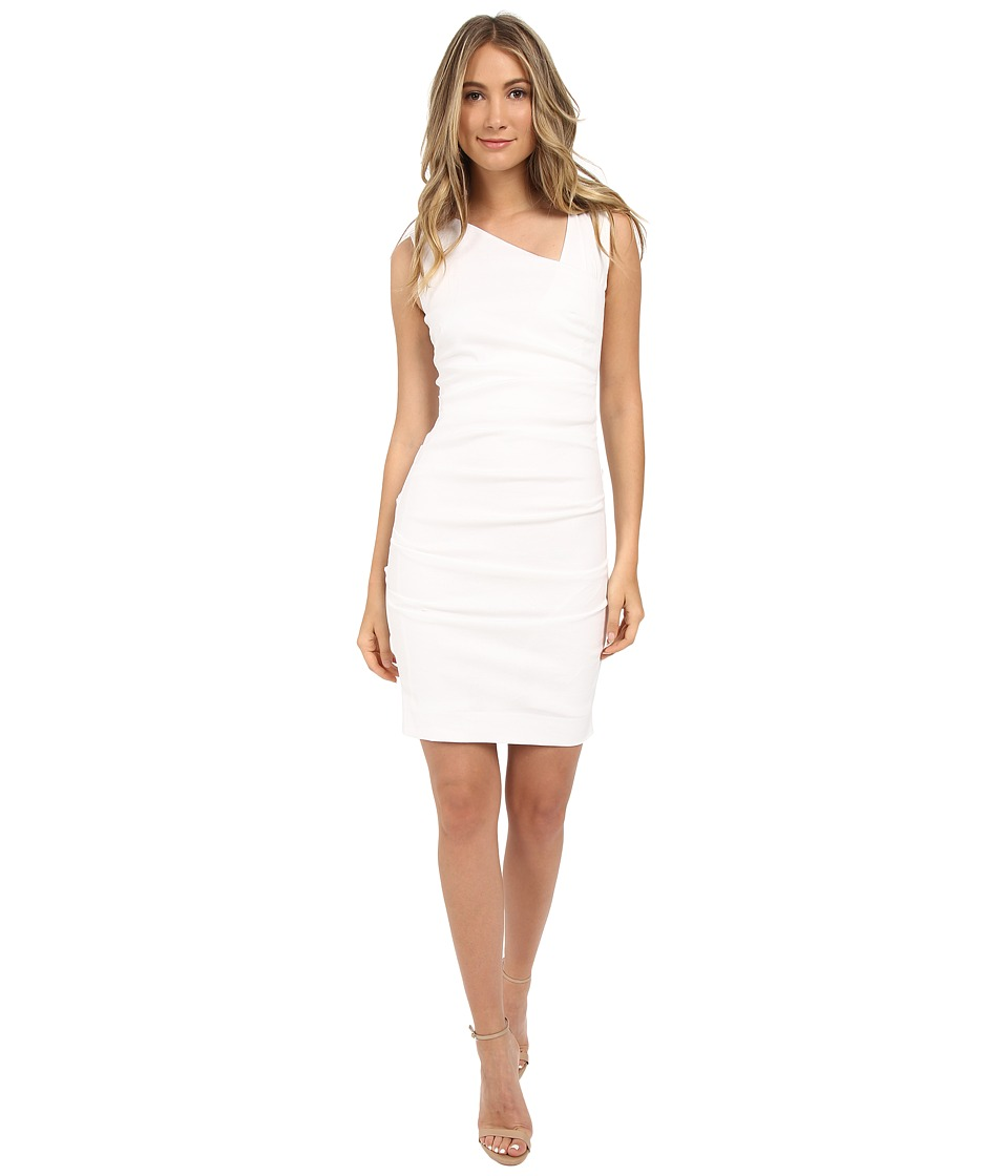 Nicole Miller Asymmetric Laila Linen Sheath (White) Women