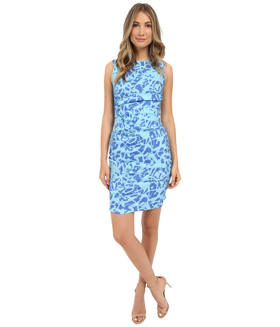 Nicole Miller - Graffiti Scribbles Lauren Linen Dress (Blue/Aqua) Women's Dress