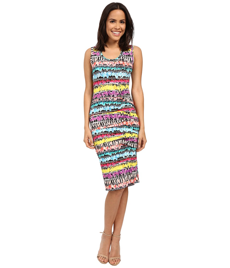 Nicole Miller Flower Chain Tidal Pleat Dress (Multi) Women