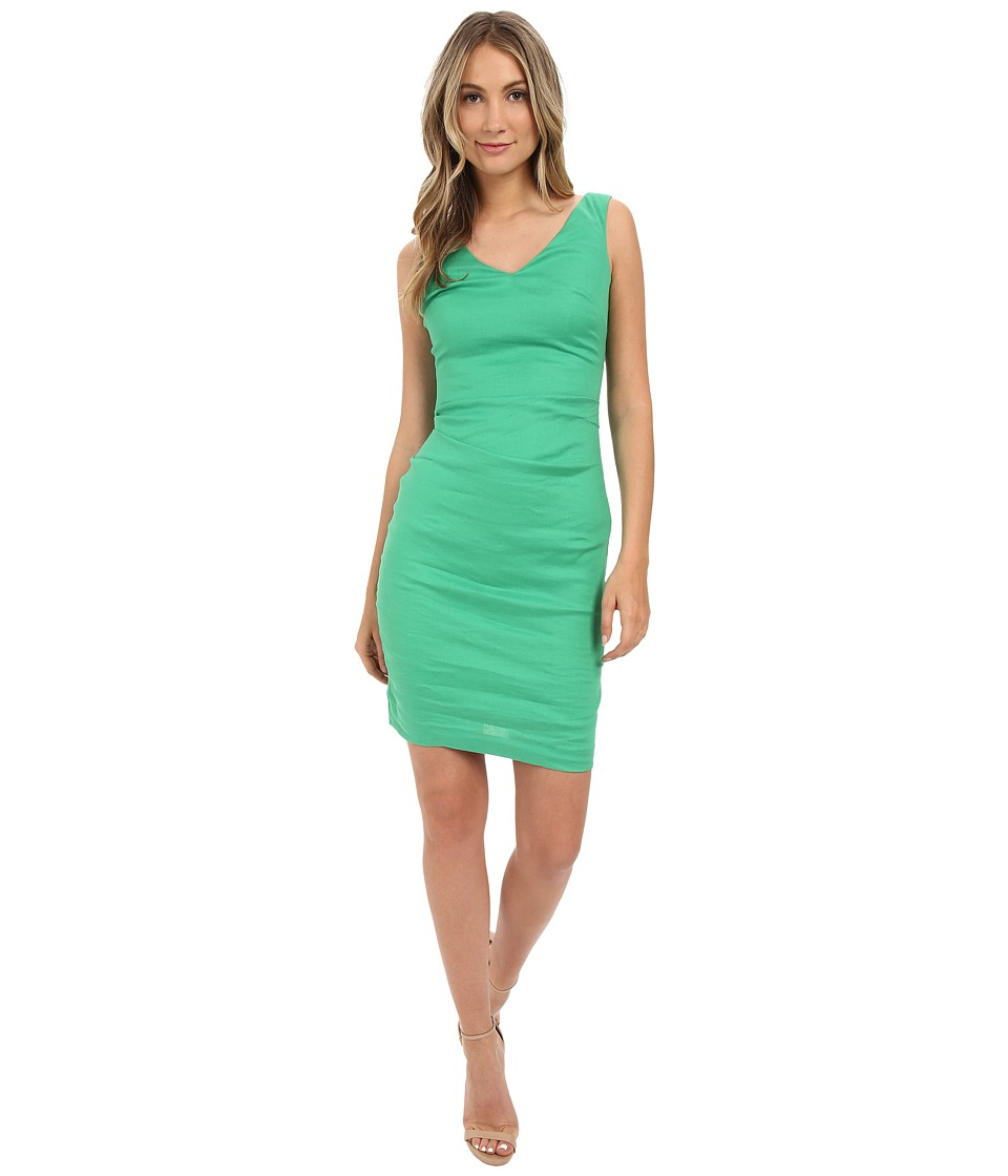 Nicole Miller - V-Neck Side Tuck Stretch Linen Dress (Paradise Green) Women's Dress