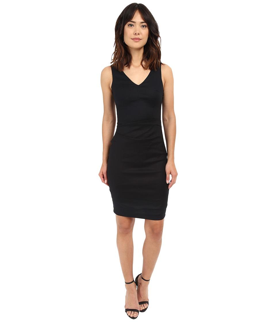Nicole Miller - V-Neck Side Tuck Stretch Linen Dress (Black) Women's Dress