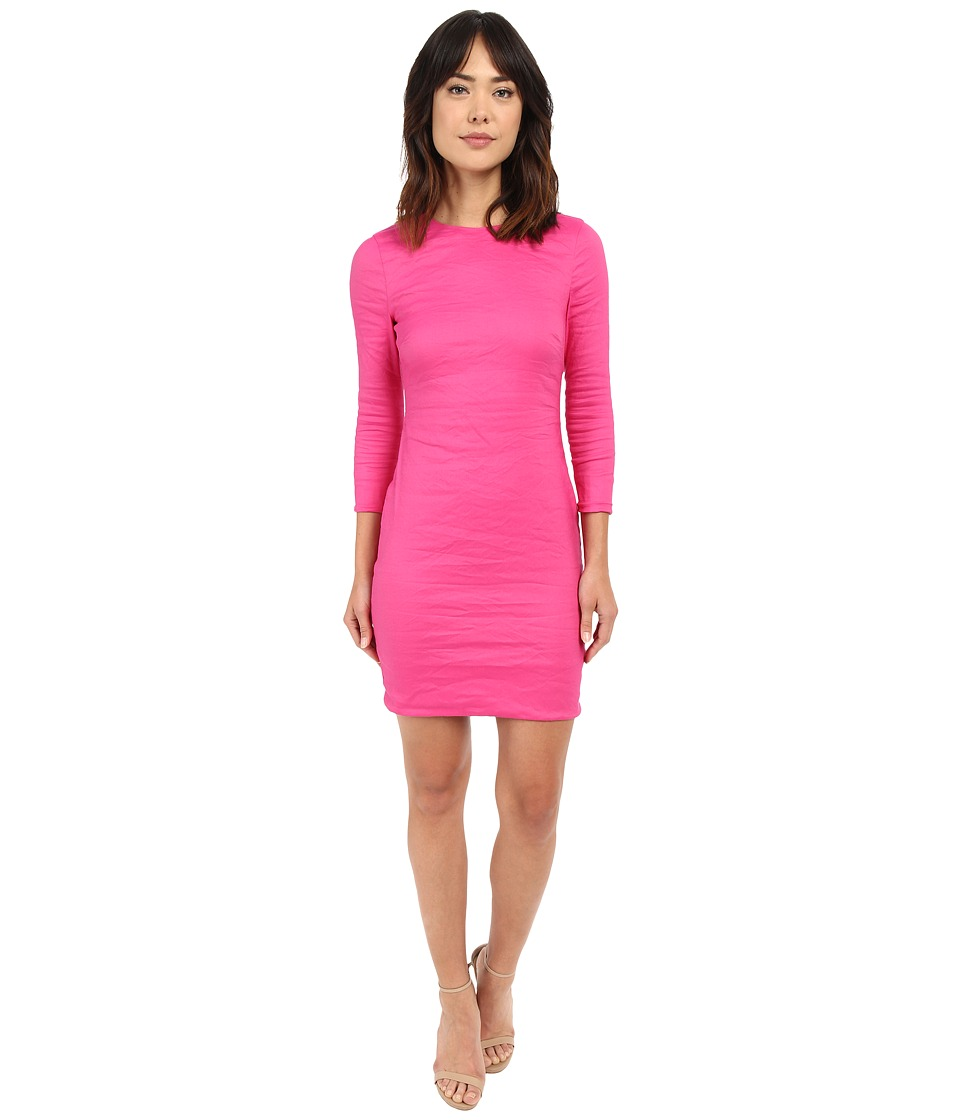 Nicole Miller - Mercedes 3/4 Sleeve Cotton Metal Dress (Azalea) Women's Dress