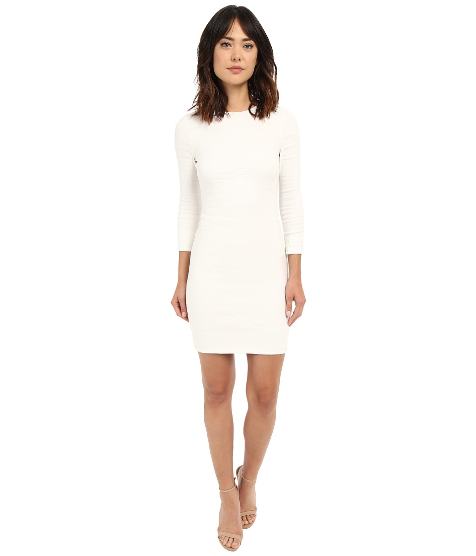 Nicole Miller - Mercedes 3/4 Sleeve Cotton Metal Dress (White) Women's Dress