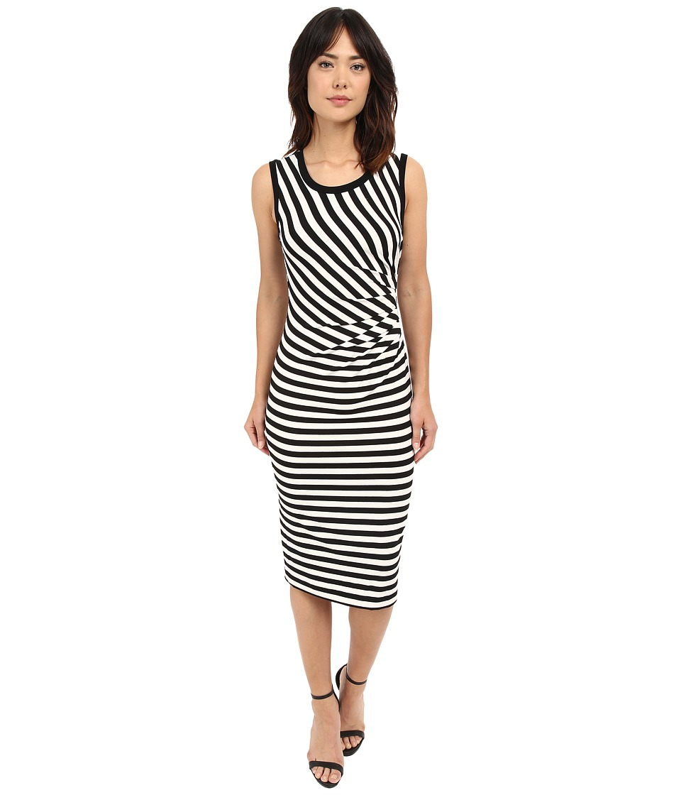 Nicole Miller - Sailor Stripe Jersey Side Tuck Basic (Black/White) Women's Dress