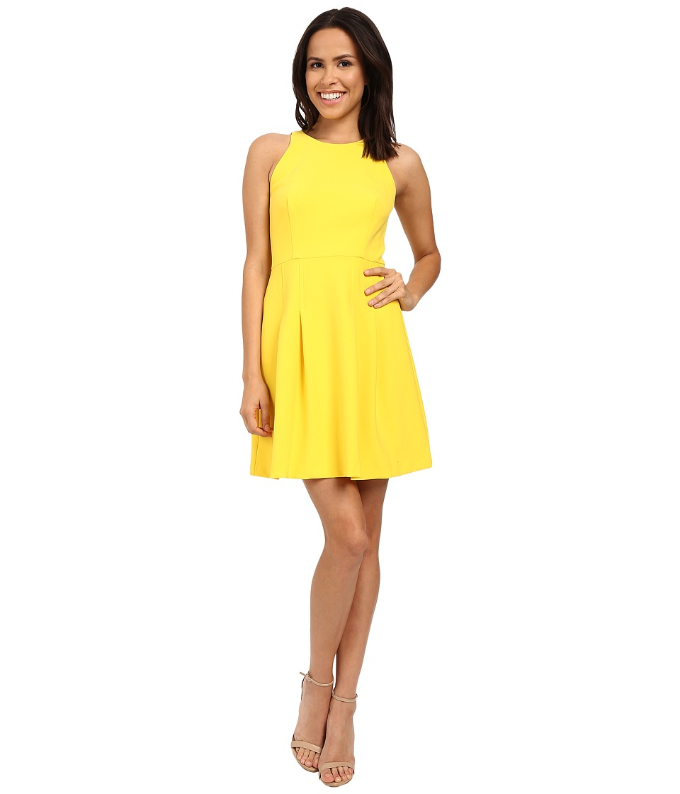 Nicole Miller Gwen Stretchy Tech Flare Dress (Lemon) Women