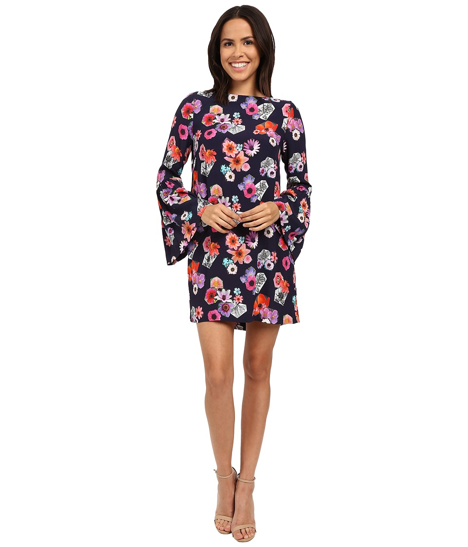 Nicole Miller Flower Collage Bell Sleeve Shift (Multi) Women