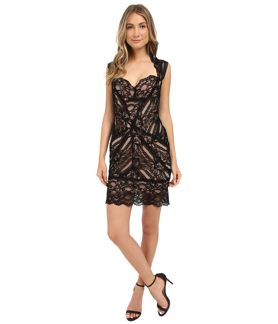 Nicole Miller - Sweetheart Eva Lace (Black/Nude) Women's Dress