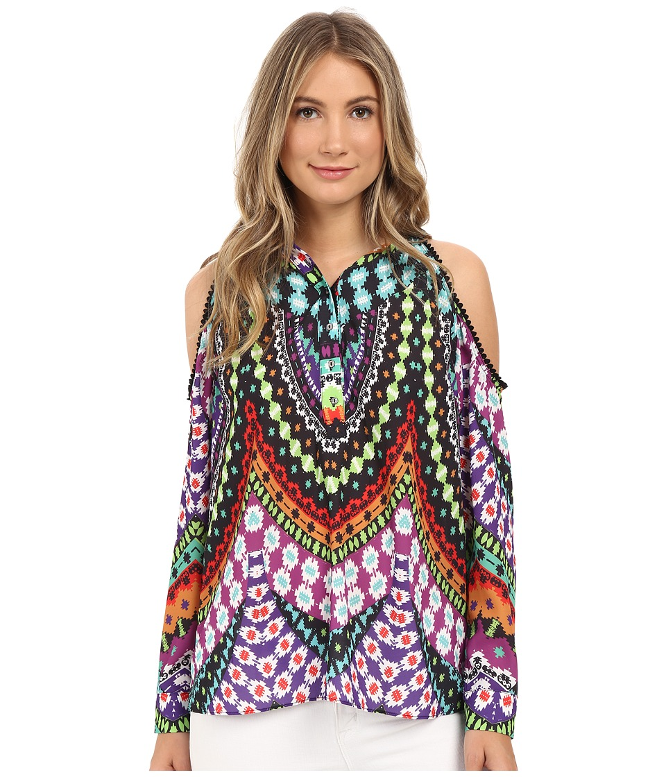 Nicole Miller - Ikat Mosaic Crochet Detail Top (Multi) Women's Clothing