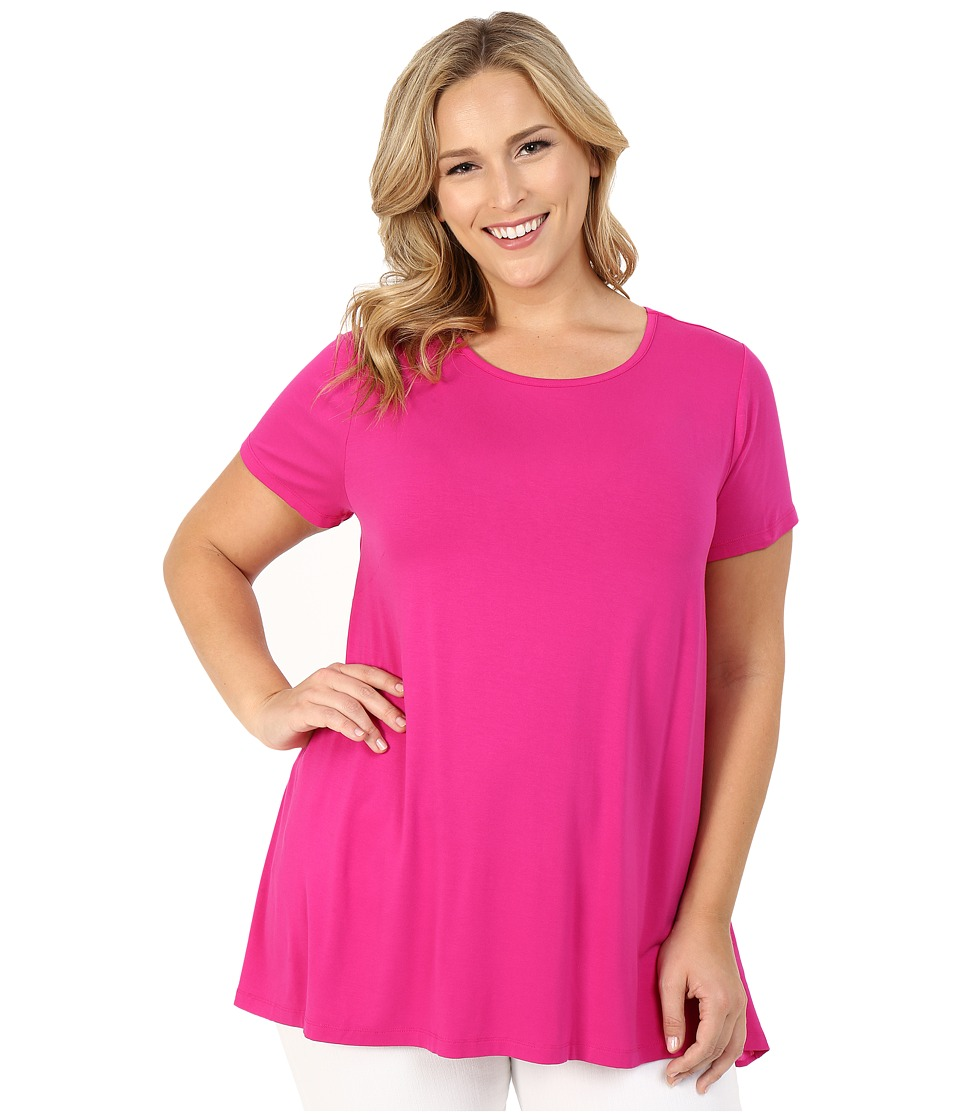 Vince Camuto Specialty Size - Plus Size Short Sleeve High-Low Hem Top with Woven Back (Pink Nectar) Women's Blouse