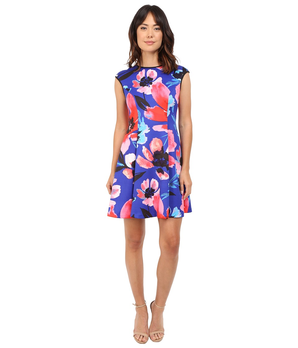 Vince Camuto - Printed Scuba Extended Cap Sleeve Fit Flare Dress (Blue Multi) Women's Dress
