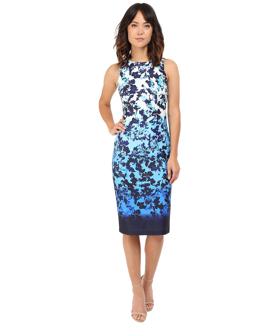 Vince Camuto - Printed Scuba Sleeveless Bodycon Ombre Dress (Blue Multi) Women's Dress