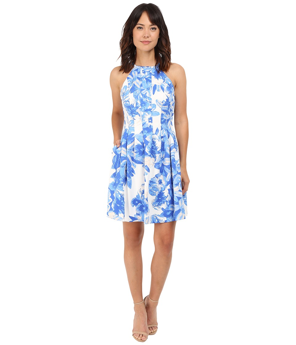 Vince Camuto - Printed Scuba Halter Fit Flare Dress (Ivory/Blue) Women's Dress