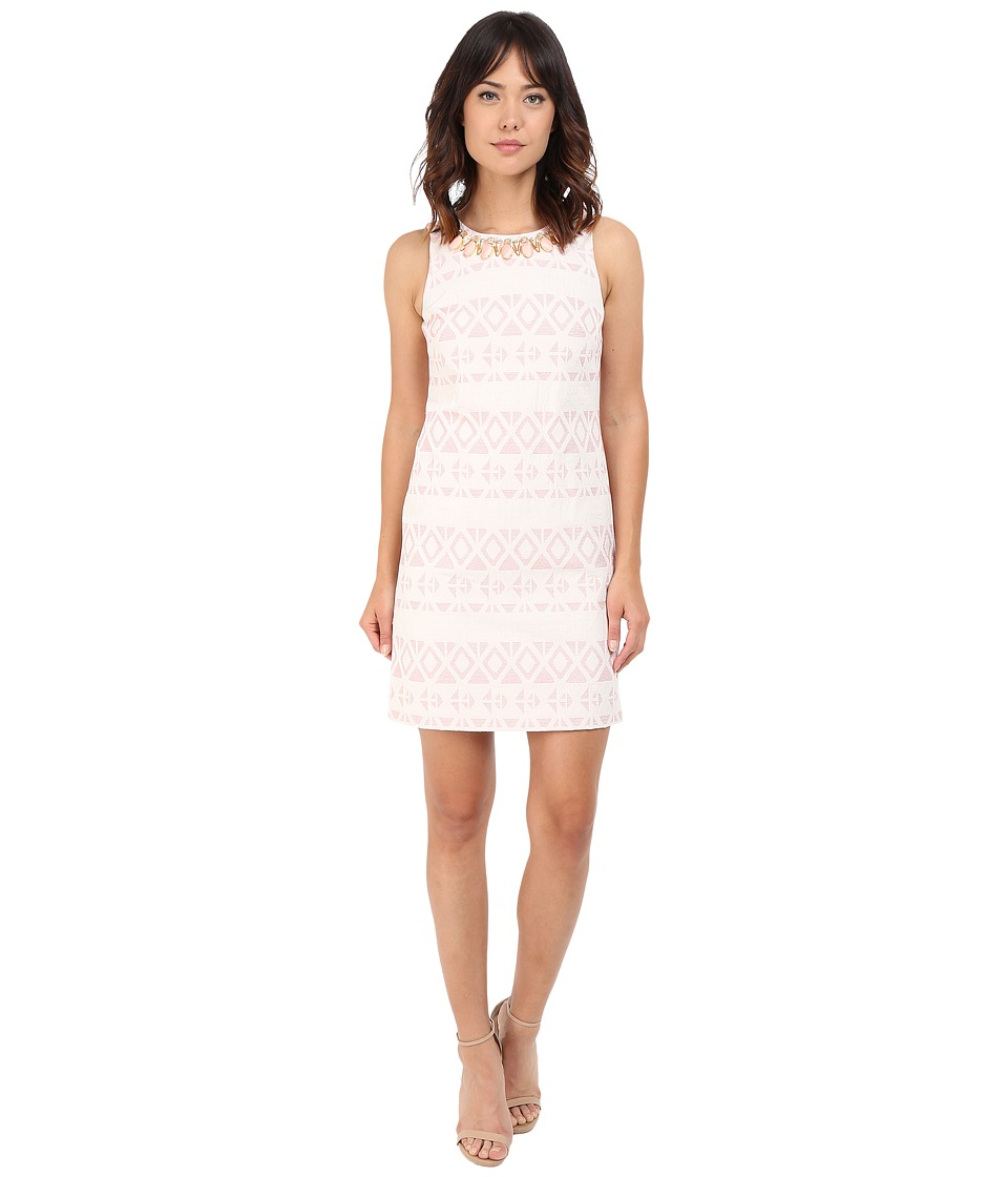 Vince Camuto - Jacquard Sleeveless Shift Dress (Ivory/Pink) Women's Dress