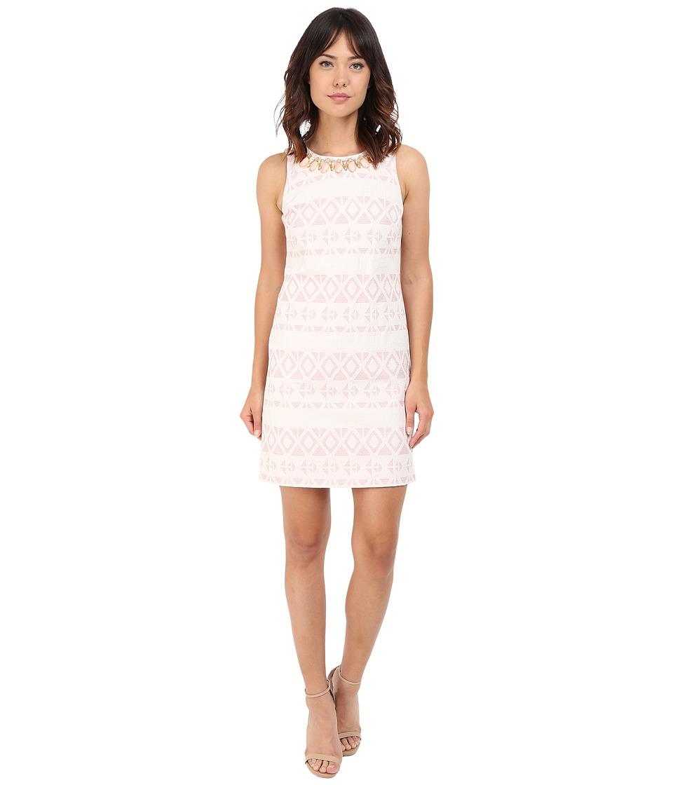 Vince Camuto Jacquard Sleeveless Shift Dress (Ivory/Pink) Women