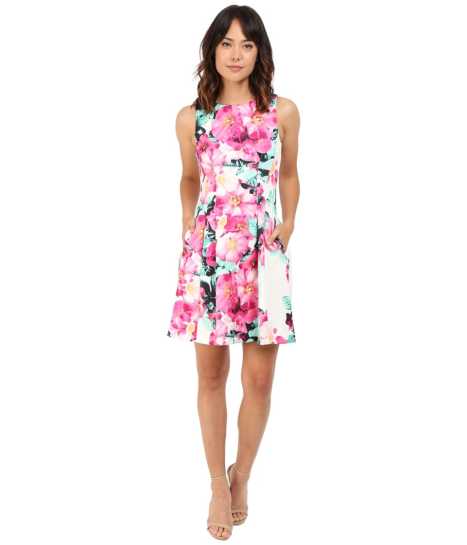 Vince Camuto - Printed Scuba Sleeveless Halter Shift Dress (Pink Multi) Women's Dress