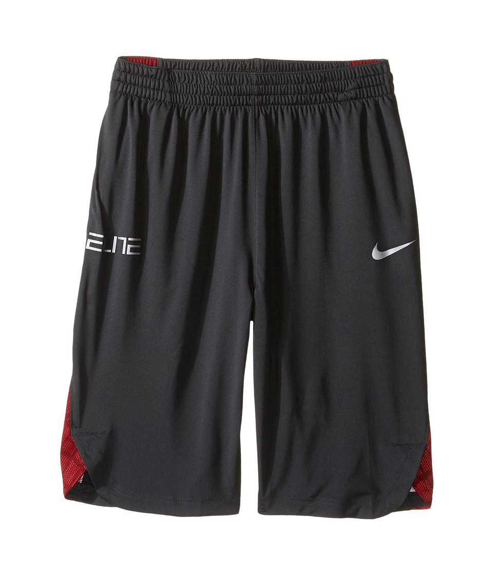 Nike Kids - Elite Basketball Short (Little Kids/Big Kids) (Anthracite/Turf Orange/Matte Silver) Boy's Shorts