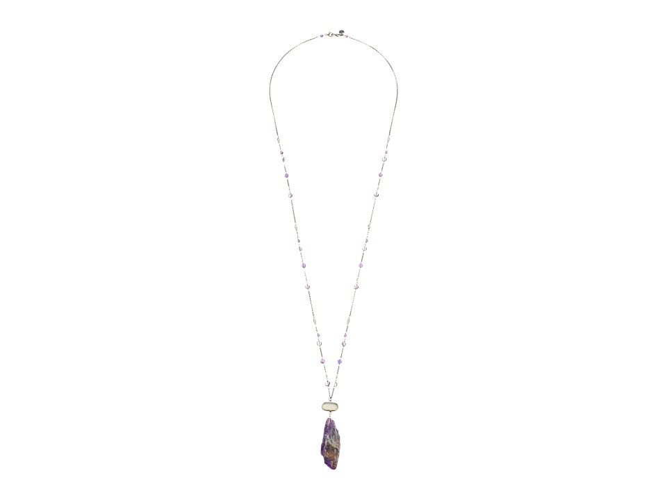Chan Luu - 34' Sterling Silver Necklace with Purple Agate Charm (Purple Mix) Necklace