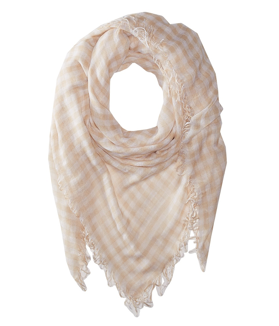Chan Luu - Gingham Printed Cashmere Scarf (Moonlight/White) Scarves