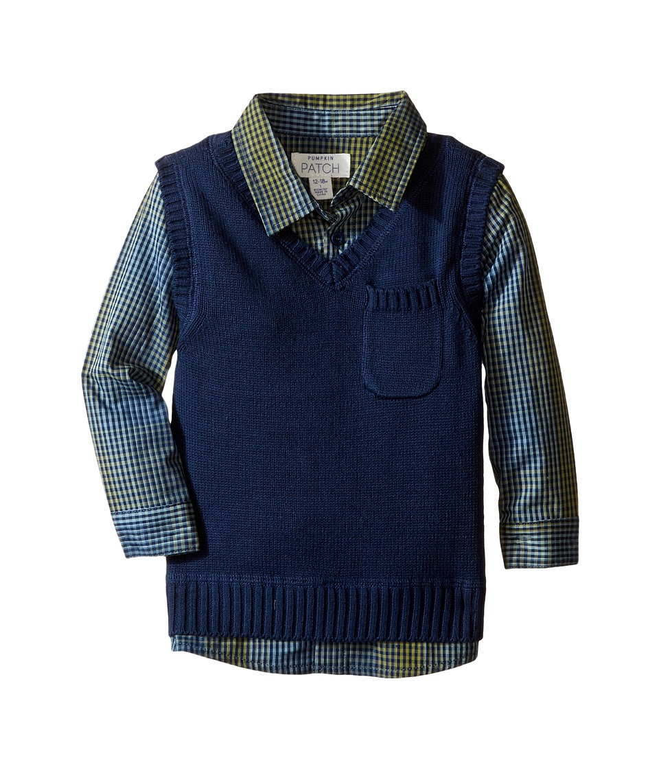 Pumpkin Patch Kids - Vest with Mock Check (Infant) (Medieval Blue) Boy's Clothing