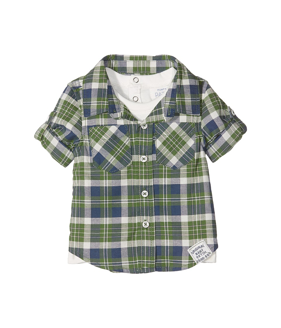 Pumpkin Patch Kids - Mock Tee Check Shirt (Infant) (Garden Green) Boy's Clothing