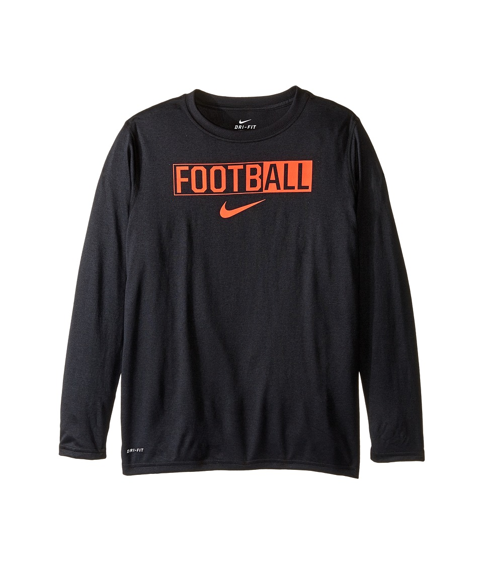 Nike Kids - Legend Long Sleeve All Football Tee (Little Kids/Big Kids) (Black/Black/Bright Crimson) Boy's T Shirt