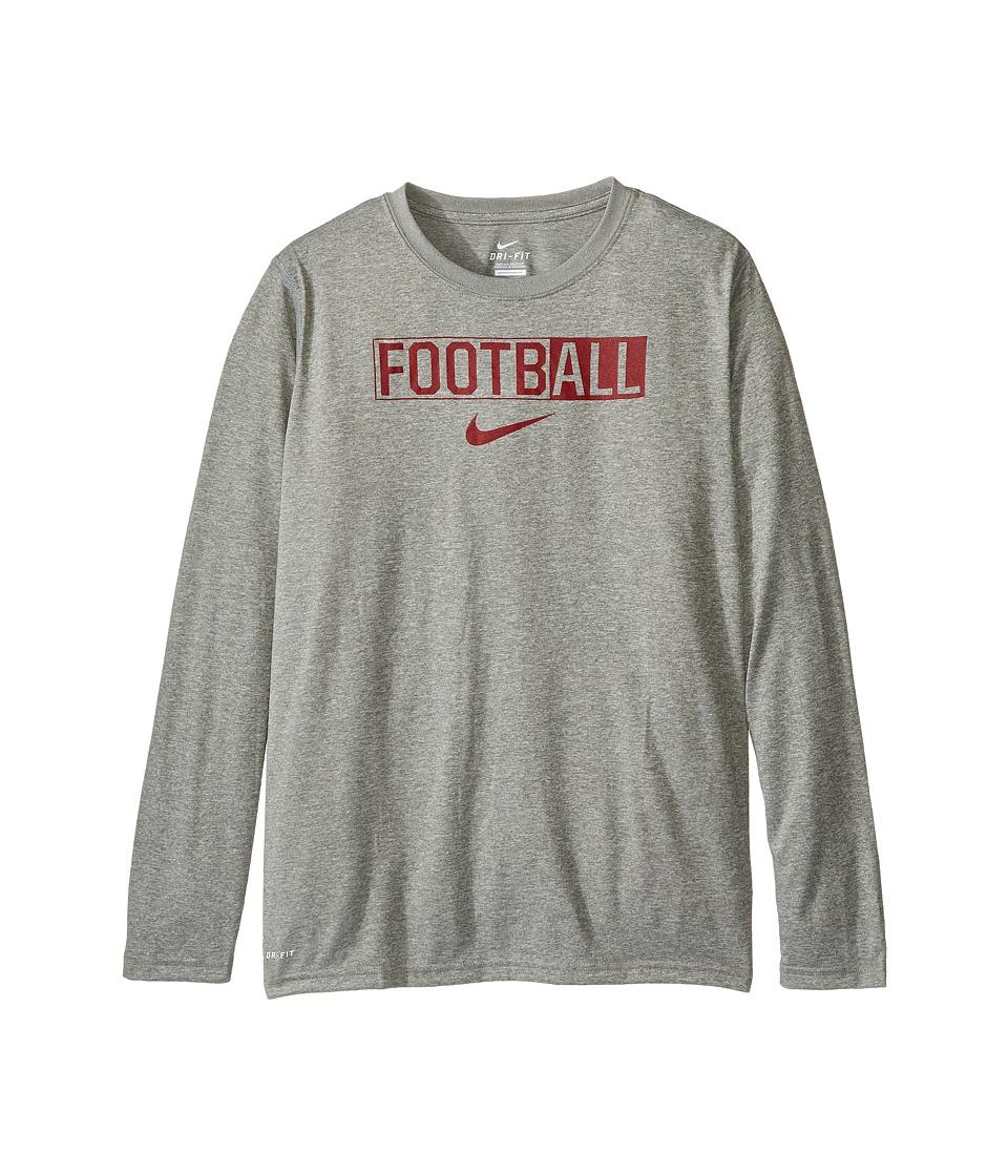 Nike Kids - Legend Long Sleeve All Football Tee (Little Kids/Big Kids) (Dark Grey Heather) Boy's T Shirt
