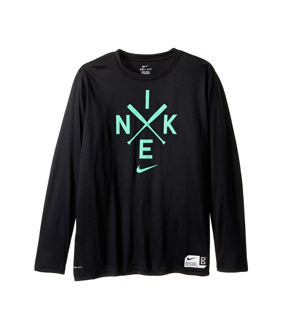 Nike Kids - Legend Long Sleeve Baseball Logo Tee (Little Kids/Big Kids) (Black) Boy's T Shirt