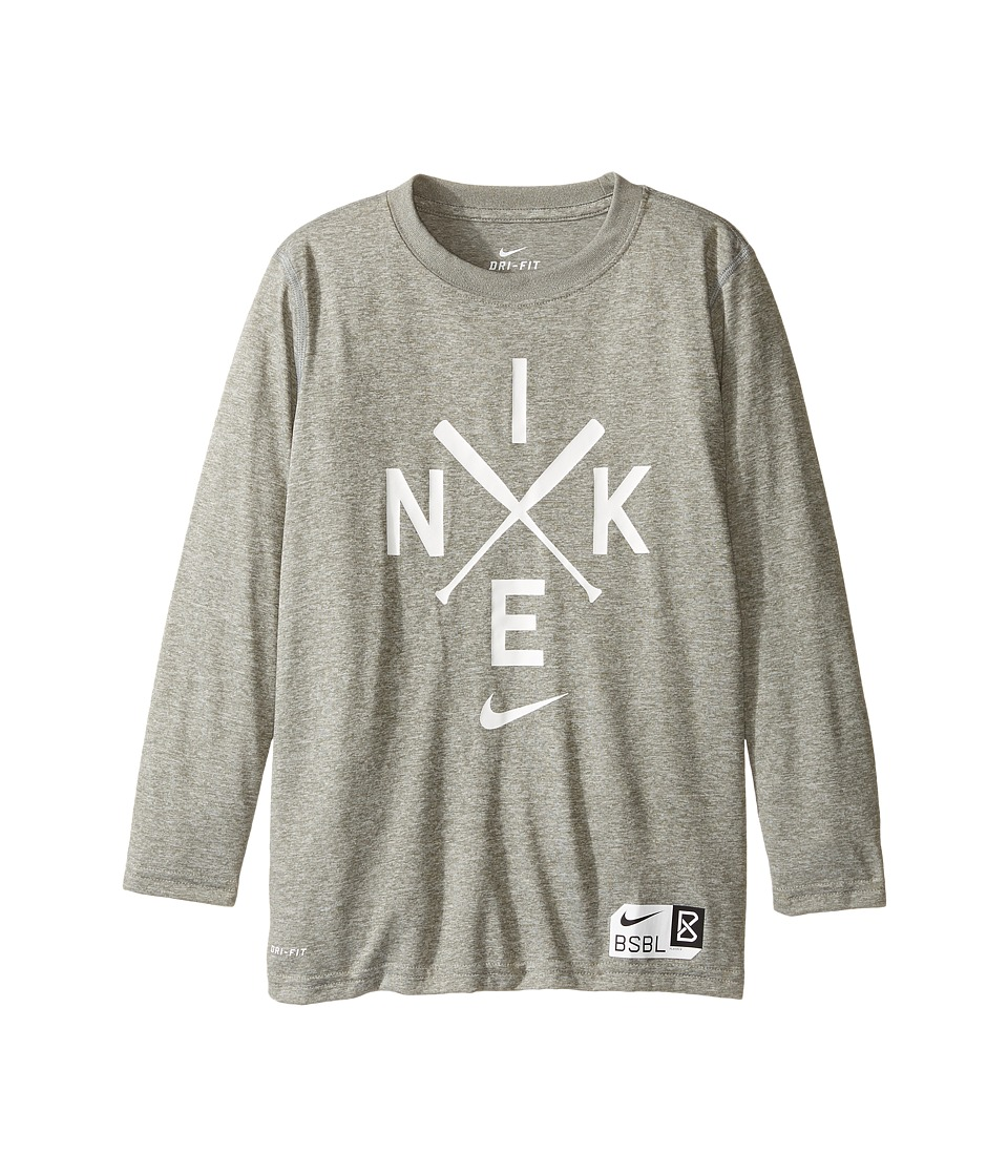 Nike Kids - Legend Long Sleeve Baseball Logo Tee (Little Kids/Big Kids) (Dark Grey Heather) Boy's T Shirt