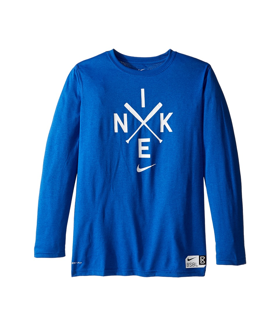Nike Kids - Legend Long Sleeve Baseball Logo Tee (Little Kids/Big Kids) (Game Royal/Game Royal/White) Boy's T Shirt