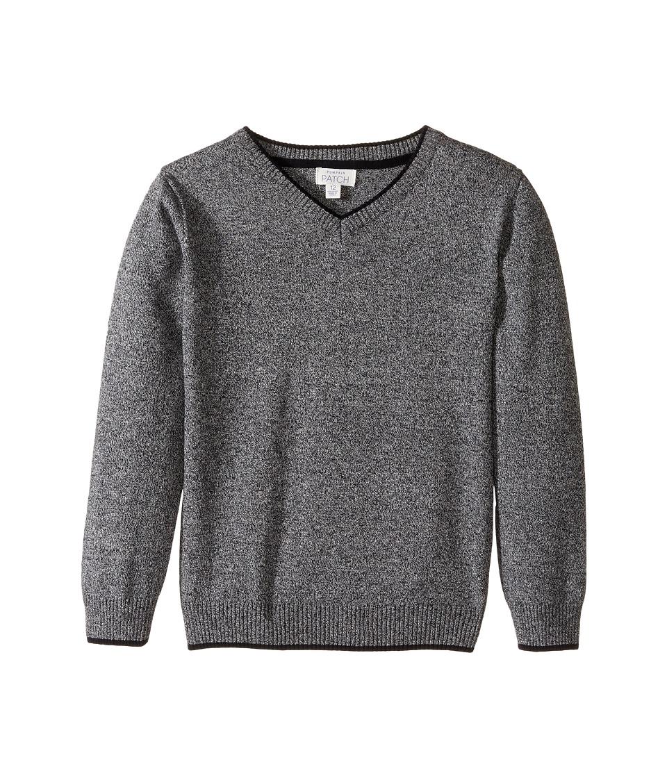 Pumpkin Patch Kids - V-Neck Sweater (Infant/Toddler/Little Kids/Big Kids) (Charcoal Marle) Boy's Sweater