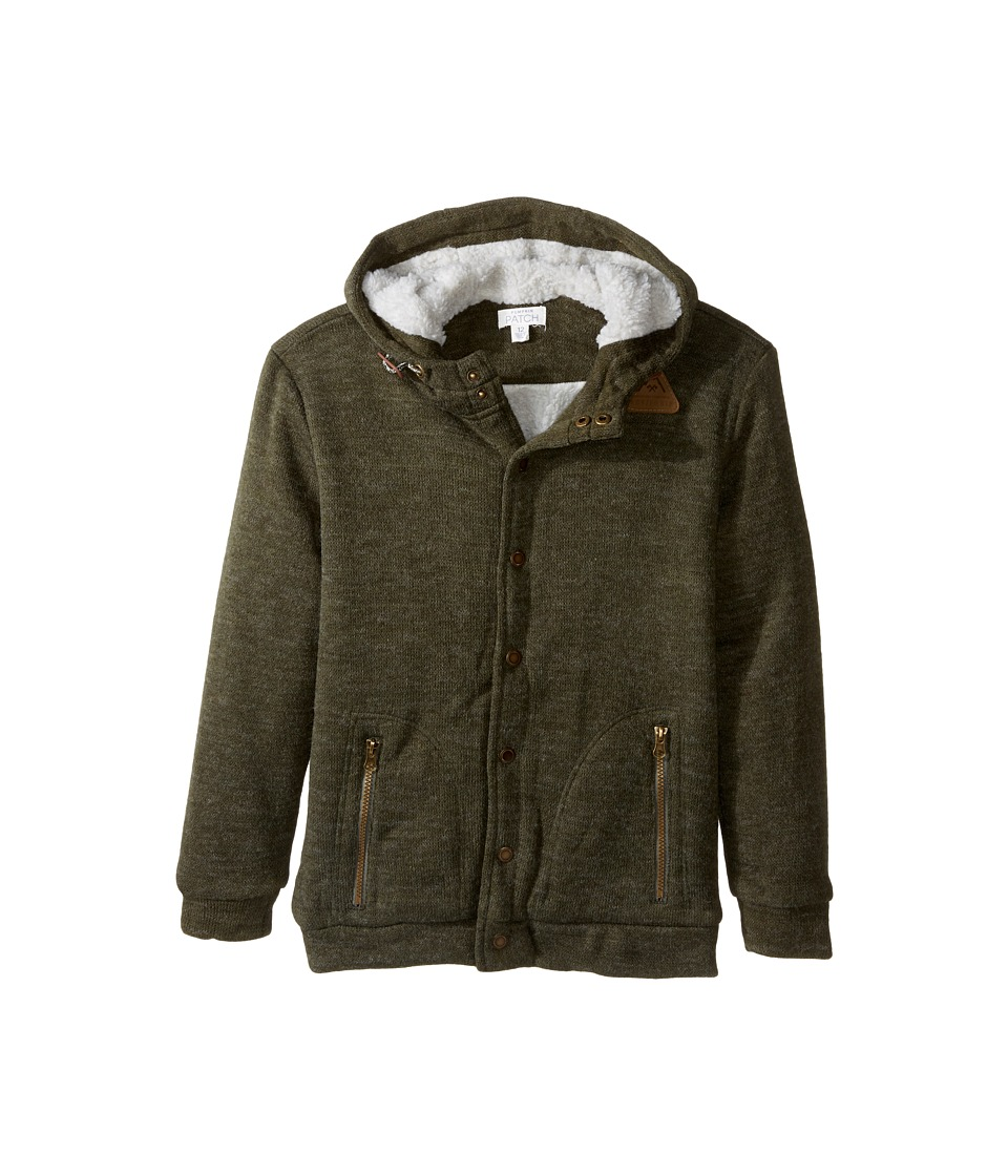 Pumpkin Patch Kids - Sherpa Lined Hoodie (Big Kids) (Ivy Green) Boy's Sweater