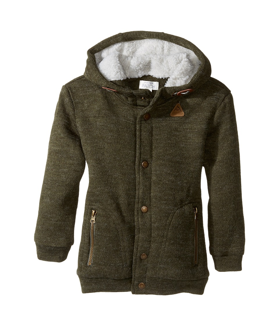 Pumpkin Patch Kids - Sherpa Lined Hoodie (Infant/Toddler/Little Kids) (Ivy Green) Boy's Sweater