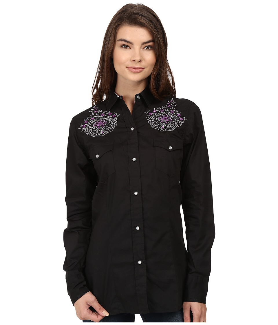Roper - 0736 Solid Poplin Fancy Shirt (Black) Women's Clothing